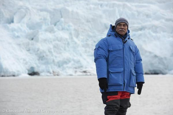 President Anote Tong on a Greenpeace organized to the Arctic.  (AP Photo/Greenpeace International, Christian Aslund)